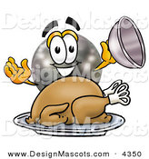 Stock Mascot Cartoon of a Happy Black Bowling Ball Mascot Cartoon Character Serving a Thanksgiving Turkey on a Platter by Toons4Biz