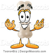 Stock Mascot Cartoon of a Happy Bone Mascot Cartoon Character with Welcoming Open Arms by Toons4Biz