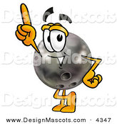 Stock Mascot Cartoon of a Happy Bowling Ball Mascot Cartoon Character Pointing Upwards by Toons4Biz