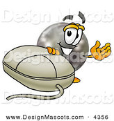 Stock Mascot Cartoon of a Happy Bowling Ball Mascot Cartoon Character with a Computer Mouse by Toons4Biz