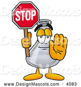Stock Mascot Cartoon of a Happy Erlenmeyer Conical Laboratory Flask Beaker Mascot Cartoon Character Holding a Stop Sign by Toons4Biz
