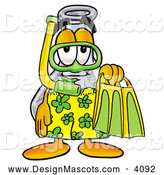 Stock Mascot Cartoon of a Happy Erlenmeyer Conical Laboratory Flask Beaker Mascot Cartoon Character in Green and Yellow Snorkel Gear by Toons4Biz
