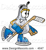 Stock Mascot Cartoon of a Happy Erlenmeyer Conical Laboratory Flask Beaker Mascot Cartoon Character Playing Ice Hockey by Toons4Biz