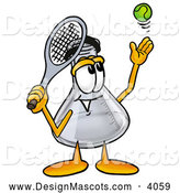 Stock Mascot Cartoon of a Happy Erlenmeyer Conical Laboratory Flask Beaker Mascot Cartoon Character Preparing to Hit a Tennis Ball by Toons4Biz