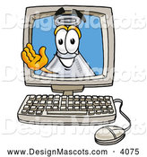 Stock Mascot Cartoon of a Happy Erlenmeyer Conical Laboratory Flask Beaker Mascot Cartoon Character Waving from Inside a Computer Screen by Toons4Biz