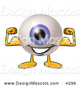 Stock Mascot Cartoon of a Happy Eyeball Mascot Cartoon Character Flexing His Arm Muscles by Toons4Biz