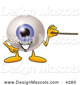 Stock Mascot Cartoon of a Happy Eyeball Mascot Cartoon Character Holding a Pointer Stick by Toons4Biz