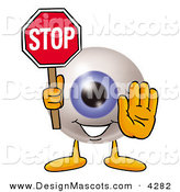 Stock Mascot Cartoon of a Happy Eyeball Mascot Cartoon Character Holding a Stop Sign by Toons4Biz