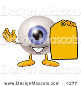 Stock Mascot Cartoon of a Happy Eyeball Mascot Cartoon Character Holding a Yellow Sales Price Tag by Toons4Biz