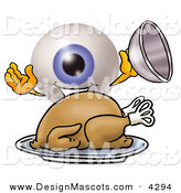 Stock Mascot Cartoon of a Happy Eyeball Mascot Cartoon Character Serving a Thanksgiving Turkey on a Platter by Toons4Biz