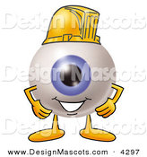 Stock Mascot Cartoon of a Happy Eyeball Mascot Cartoon Character Wearing a Helmet by Toons4Biz