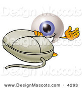Stock Mascot Cartoon of a Happy Eyeball Mascot Cartoon Character with a Computer Mouse by Toons4Biz