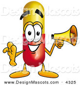 Stock Mascot Cartoon of a Happy Medicine Pill Capsule Mascot Cartoon Character Holding a Megaphone by Toons4Biz