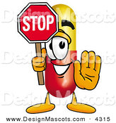 Stock Mascot Cartoon of a Happy Medicine Pill Capsule Mascot Cartoon Character Holding a Stop Sign by Toons4Biz