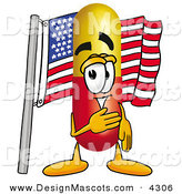 Stock Mascot Cartoon of a Happy Medicine Pill Capsule Mascot Cartoon Character Pledging Allegiance to an American Flag by Toons4Biz
