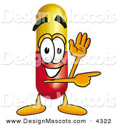 Stock Mascot Cartoon of a Happy Medicine Pill Capsule Mascot Cartoon Character Waving and Pointing by Toons4Biz