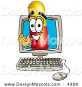 Stock Mascot Cartoon of a Happy Medicine Pill Capsule Mascot Cartoon Character Waving from Inside a Computer Screen by Toons4Biz