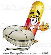 Stock Mascot Cartoon of a Happy Medicine Pill Capsule Mascot Cartoon Character with a Computer Mouse by Toons4Biz