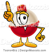 Stock Mascot Cartoon of a Happy Red and White Fishing Bobber Mascot Cartoon Character Pointing Upwards by Toons4Biz