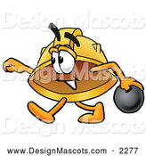 Stock Mascot Cartoon of a Hard Hat Mascot Bowling by Toons4Biz