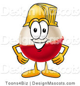 Stock Mascot Cartoon of a Hard Working Fishing Bobber Mascot Cartoon Character Wearing a Helmet by Toons4Biz
