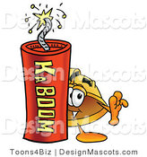 Stock Mascot Cartoon of a Hardhat Mascot and Dynamite by Toons4Biz
