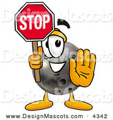Stock Mascot Cartoon of a Helpful Bowling Ball Mascot Cartoon Character Holding a Stop Sign by Toons4Biz