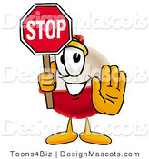 Stock Mascot Cartoon of a Helpful Fishing Bobber Mascot Cartoon Character Holding a Stop Sign by Toons4Biz