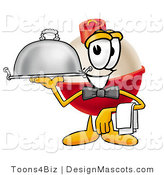 Stock Mascot Cartoon of a Helpful Fishing Bobber Mascot Cartoon Character Serving a Thanksgiving Turkey on a Platter by Toons4Biz