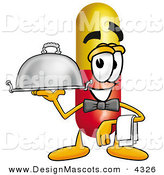 Stock Mascot Cartoon of a Helpful Medicine Pill Capsule Mascot Cartoon Character Dressed As a Waiter and Holding a Serving Platter by Toons4Biz