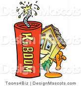 Stock Mascot Cartoon of a House Mascot and Dynamite by Toons4Biz