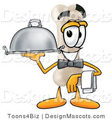 Stock Mascot Cartoon of a Hungry Bone Mascot Cartoon Character Dressed As a Waiter and Holding a Serving Platter by Toons4Biz