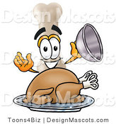 Stock Mascot Cartoon of a Hungry Bone Mascot Cartoon Character Serving a Thanksgiving Turkey on a Platter by Toons4Biz