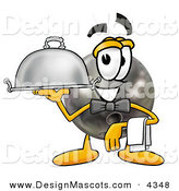 Stock Mascot Cartoon of a Hungry Bowling Ball Mascot Cartoon Character Dressed As a Waiter and Holding a Serving Platter by Toons4Biz