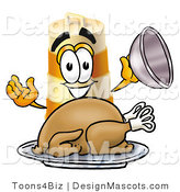 Stock Mascot Cartoon of a Hungry Orange and White Barrel Mascot Cartoon Character Serving a Thanksgiving Turkey on a Platter by Toons4Biz