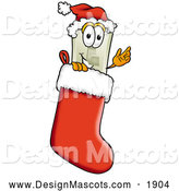Stock Mascot Cartoon of a Light Switch Design Mascot Inside a Red Christmas Stocking by Toons4Biz