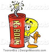 Stock Mascot Cartoon of a Lightbulb Mascot and Dynamite by Toons4Biz