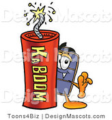 Stock Mascot Cartoon of a Luggage Mascot and Dynamite by Toons4Biz