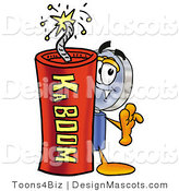 Stock Mascot Cartoon of a Magnifying Glass Mascot and Dynamite by Toons4Biz