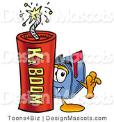 Stock Mascot Cartoon of a Mailbox Mascot and Dynamite by Toons4Biz