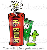 Stock Mascot Cartoon of a Money Mascot and Dynamite by Toons4Biz