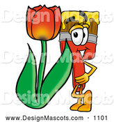 Stock Mascot Cartoon of a Paint Brush Mascot Red Tulip Flower by Toons4Biz