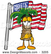Stock Mascot Cartoon of a Palm Tree Character Pledging Allegiance to an American Flag by Toons4Biz