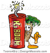 Stock Mascot Cartoon of a Palm Tree Mascot and Dynamite by Toons4Biz