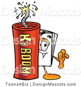 Stock Mascot Cartoon of a Paper Mascot and Dynamite by Toons4Biz