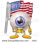 Stock Mascot Cartoon of a Patriotic Eyeball Mascot Cartoon Character Pledging Allegiance to an American Flag by Toons4Biz