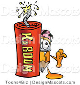 Stock Mascot Cartoon of a Pencil Mascot and Dynamite by Toons4Biz