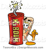 Stock Mascot Cartoon of a Pizza Mascot and Dynamite by Toons4Biz