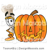 Stock Mascot Cartoon of a Proud Bone Mascot Cartoon Character with a Carved Halloween Pumpkin by Toons4Biz