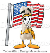 Stock Mascot Cartoon of a Proud Patriotic Bone Mascot Cartoon Character Pledging Allegiance to an American Flag by Toons4Biz